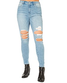Juniors' Stevie Ripped High Rise Skinny Jeans