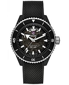 Men's Swiss Automatic Captain Cook Black Rubber Strap Watch 43mm