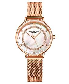 Women's Quartz Rose Gold-Tone Mesh Strap Watch 34mm