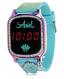 Disney Princess Kid's Touch Screen Aqua Silicone Strap LED Watch, with Hanging Charm 36mm x 33 mm