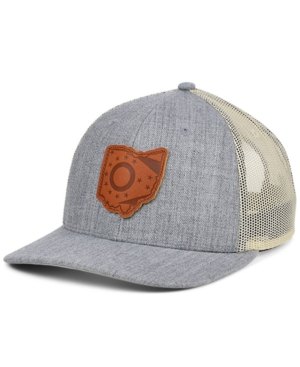 Local Crowns Ohio Heather Leather State Patch Curved Trucker Cap