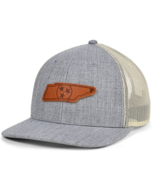 Local Crowns Tennessee Heather Leather State Patch Curved Trucker Cap