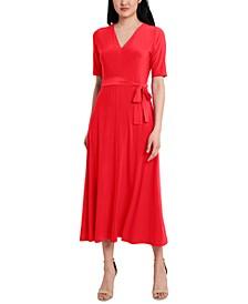 Petite Tie-Waist Midi Dress