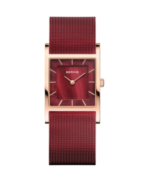 Women's Classic Red Stainless Steel Mesh Strap Watch 26mm