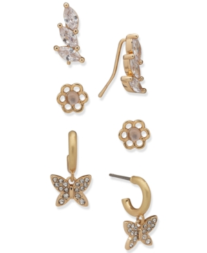 Gold-Tone 3-Pc. Set Pave Flower & Butterfly Earrings