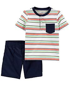 Baby Boys Striped Henley Short, 2 Piece Set