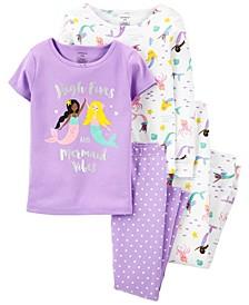 Big Girls Mermaid Snug Fit 4-Piece Cotton Pajama Set