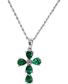 "Emerald (1-1/3 ct. t.w.) & Diamond Accent Cross 18"" Pendant Necklace in 14k White Gold"