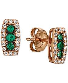 Costa Smeralda Emeralds (1/8 ct. t.w.) & Vanilla Diamond (1/6 ct. t.w.) Stud Earrings in 14k Rose Gold