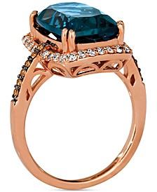 Deep Sea Blue Topaz (7-1/3 ct. t.w.) & Diamond (3/8 ct. t.w.) Ring in 14k Rose Gold
