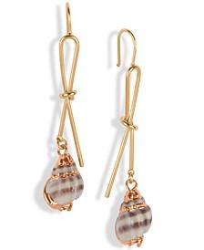 Gold-Tone Shell Knot Drop Earrings