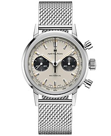 Men's Swiss Intra-Matic Chronograph H Stainless Steel Mesh Bracelet Watch 40mm