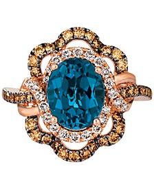 Deep Sea Blue Topaz (3 ct. t.w.) & Diamond (7/8 ct. t.w.) Statement Ring in 14k Rose Gold