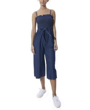 Smocked Belted Chambray Wide-Leg Denim Jumpsuit