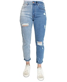 Crave Fame Juniors' Two-Tone Destructed High-Waist Cropped Mom Jeans