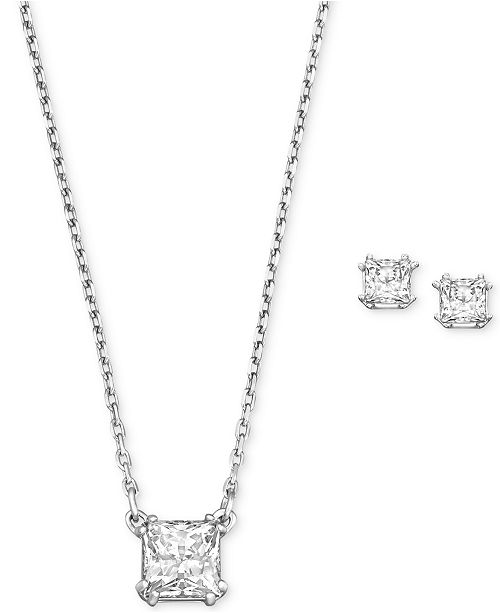 Swarovski Rhodium-Plated Clear Crystal Square Stud Earrings and Pendant Necklace