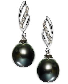 14k White Gold Tahitian Pearl (9mm) and Diamond (1/10 ct. t.w.) Drop Earrings