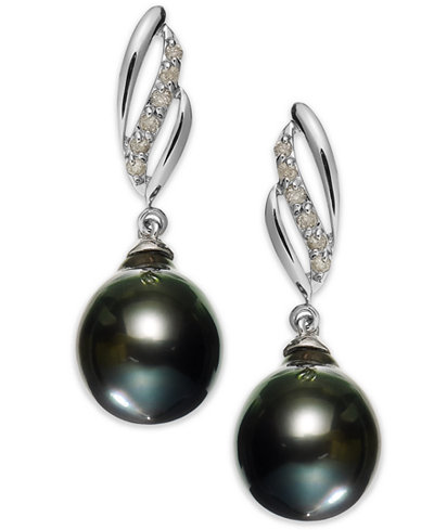 14k White Gold Tahitian Pearl (9mm) and Diamond (1/10 ct. t.w.) Drop Earrings