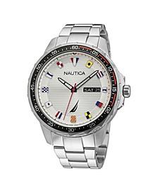 Men's Analog Silver-Tone Stainless Steel Bracelet Watch 48 mm
