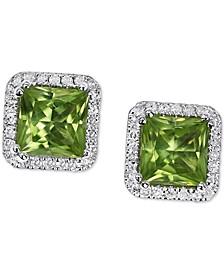 Peridot (1-3/4 ct. t.w.) & Diamond (1/5 ct. t.w.) Square Halo Stud Earrings in 14k White Gold