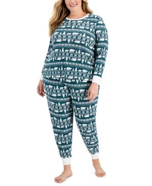 Plus Size Bear Fair Isle Pajama Set