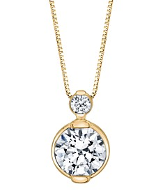 """Diamond Double Bezel 18"""" Pendant Necklace (1/4 ct. t.w.) In 14K White Gold or 14K Yellow Gold"""