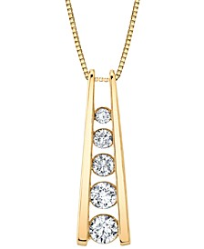 """Diamond Graduated Ladder 18"""" Pendant Necklace (1/2 ct. t.w.) in 14k Gold"""