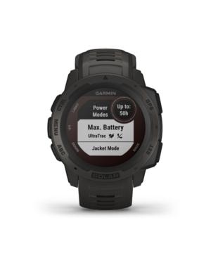 Unisex Instinct Solar Graphite Silicone Strap Smart Watch 23mm