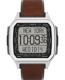 Men's Command Urban Digital Brown Leather Strap Watch 47mm