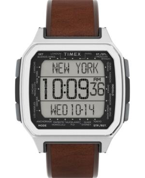TIMEX MEN'S COMMAND URBAN DIGITAL BROWN LEATHER STRAP WATCH 47MM