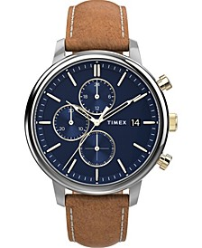 Men's Chicago Tan Leather Strap Watch 45mm