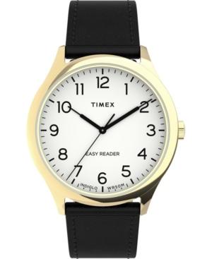 TIMEX MEN'S EASY READER GEN 1 BLACK LEATHER STRAP WATCH 40MM