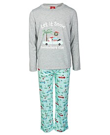 Matching Toddler, Little & Big Kids 2-Pc. Tropical Santa Family Pajama Set, Created for Macy's