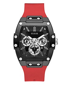 Mens Multi-Function Black and Red Silicone Watch 43mm