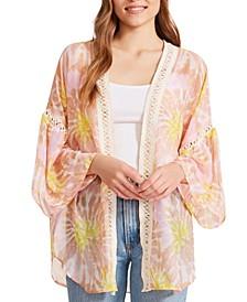 Crochet-Trim Tie-Dyed Kimono