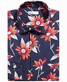 Men's Slim-Fit Performance Stretch Sunflower-Print Dress Shirt, Created for Macy's