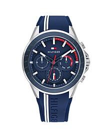 Men's Blue Silicone Strap Watch 44mm