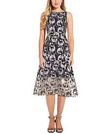 Printed Metallic A-Line Dress