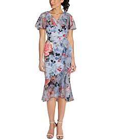 Printed Ruffled Midi Dress