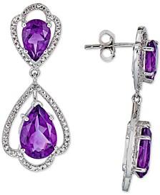Amethyst (8 ct. t.w.) & White Topaz (1/10 ct. t.w.) Drop Earrings in Sterling Silver