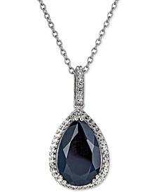 "Black Sapphire (5 ct. t.w.) & White Topaz (1/4 ct. t.w.) 18"" Pendant Necklace in Sterling Silver"