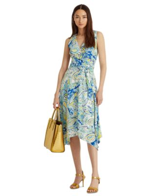 로렌 랄프로렌 Lauren Ralph Lauren Faux-Wrap Sleeveless Dress,Blue Multi