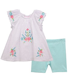 Toddler Girls Clip Dot Peasant Top and Span Biker Shorts Set, 2 Piece