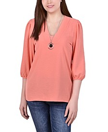 Petite Balloon Sleeve Pullover with Necklace