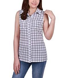 Petite Sleeveless Notch Collar Button Front Blouse