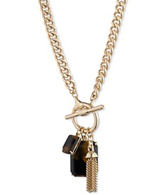 "Chain Tassel & Stone Multi-Charm 17"" Pendant Necklace"