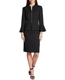 Zip-Front Peplum Skirt Suit