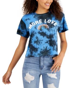 Juniors' More Love Graphic Tie-Dye-Print T-Shirt