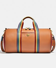 Pride Leather Duffle With Rainbow Quilting