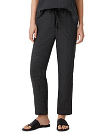Linen Checked Drawstring Ankle Pants